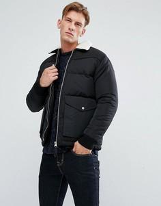 Дутая куртка с воротником из искусственного меха Bellfield - Черный