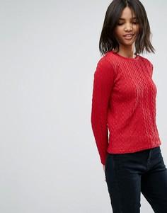 Вязаный в косичку джемпер Esprit - Красный