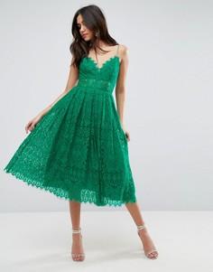 Кружевное платье миди для выпускного ASOS - Зеленый