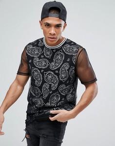 Длинная футболка с принтом пейсли и сетчатыми вставками ASOS - Черный