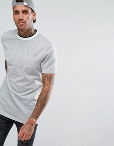 Длинная футболка с вышивкой Squad и окантовкой в рубчик ASOS - Серебряный