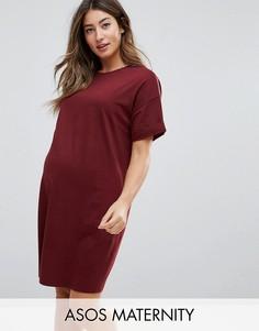 Платье-футболка с закатанными рукавами ASOS Maternity - Красный