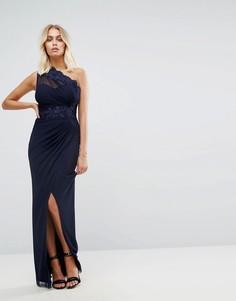 Платье макси на одно плечо с полупрозрачным низом Lipsy - Темно-синий