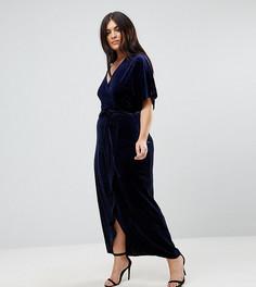 Бархатное платье макси с запахом Missguided Plus - Синий