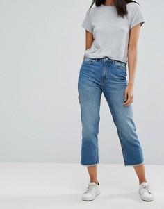 Укороченные джинсы с бахромой по краю Only - Синий