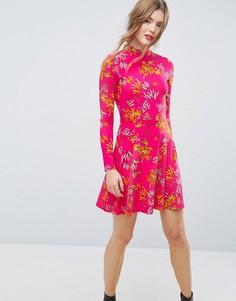 Розовое чайное платье мини с высоким воротом и бамбуковым принтом ASOS - Мульти
