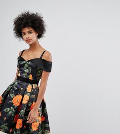 Атласное короткое приталенное платье с вырезом сердечком и цветочным принтом Horrockses - Мульти
