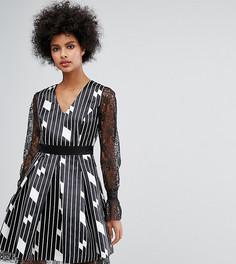 Короткое приталенное платье с расклешенными кружевными рукавами и абстрактным принтом Horrockses - Мульти