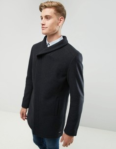 Полушерстяное пальто с воротом-трубой Esprit - Серый