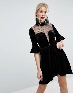 Короткое приталенное бархатное платье с глубоким вырезом и вставками из сетки добби ASOS - Черный
