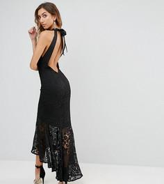 Кружевное платье макси с американской проймой и асимметричным подолом Jarlo Tall - Черный