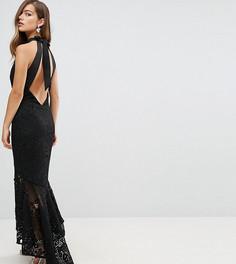 Кружевное платье макси с американской проймой и асимметричным подолом Jarlo Petite - Черный