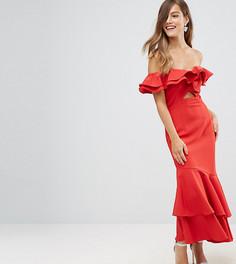 Платье макси со спущенными плечами и оборками Jarlo Petite - Красный