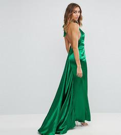 Платье макси с американской проймой, юбкой-годе и открытой спиной Jarlo Tall - Зеленый