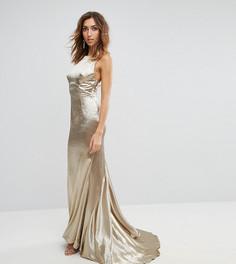 Платье макси с американской проймой, юбкой-годе и открытой спиной Jarlo Tall - Золотой