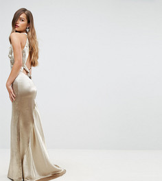 Платье макси с американской проймой, юбкой годе и открытой спиной Jarlo Petite - Золотой