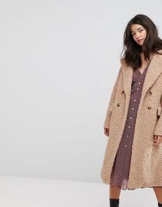 Пальто-кокон в стиле оверсайз из искусственной овечьей шерсти Neon Rose - Бежевый