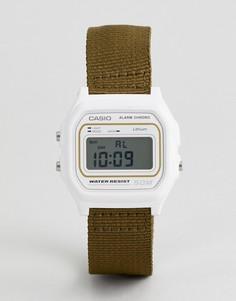 Цифровые часы с парусиновым ремешком цвета хаки Сasio W-59B-3AVEF - Зеленый Casio