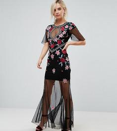 Премиум-платье миди с сетчатой юбкой Frock And Frill Petite - Черный