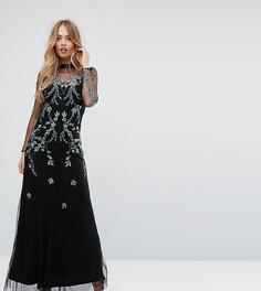 Сетчатое платье макси с отделкой Hope & Ivy - Черный
