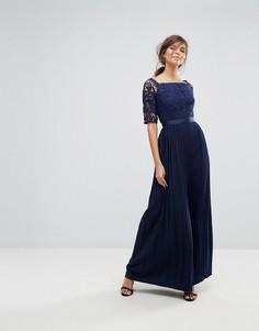 Платье макси с широким вырезом, кружевным топом и плиссированной юбкой Little Mistress - Темно-синий