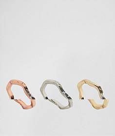 3 кольца с кованным эффектом ASOS - Золотой
