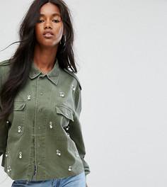 Рубашка в стиле милитари с отделкой Milk It Vintage - Зеленый