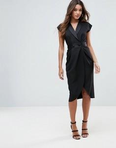 Платье миди с атласной отделкой ASOS - Черный
