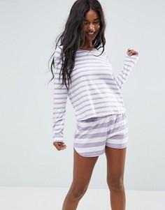 Пижамный комплект из шорт и лонгслива в полоску ASOS - Мульти