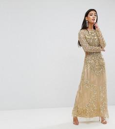 Платье макси в стиле барокко с отделкой и разрезом A Star Is Born Petite - Золотой