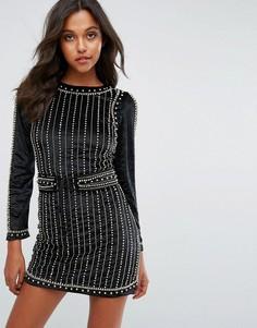 Бархатное платье мини с декоративной отделкой Starlet - Черный