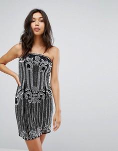 Декорированное платье-бандо миди с разрезом Starlet - Черный