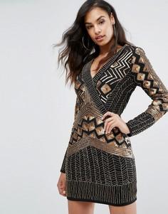 Платье мини с запахом и длинными рукавами Starlet - Черный