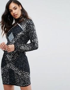 Платье мини с высоким воротом Starlet - Серый