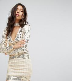 Платье мини с глубоким вырезом и чокером Starlet - Золотой