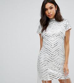Платье-футляр с бахромой Starlet - Серебряный