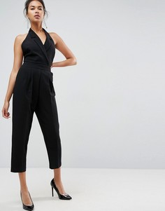 Комбинезон-халтер с лацканами и широкими брюками ASOS Tailored - Черный