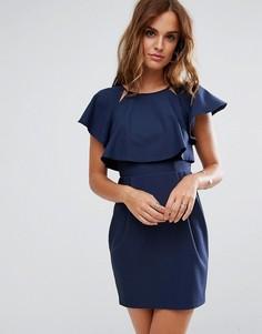 Платье мини с накладкой ASOS - Темно-синий