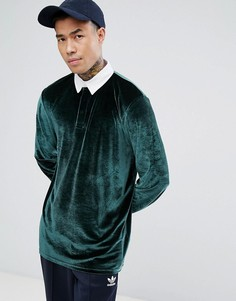Длинная велюровая футболка-поло ASOS - Зеленый