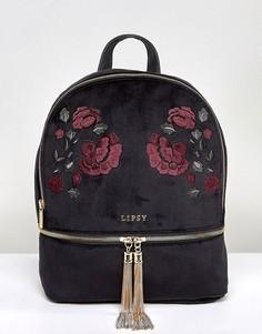 Бархатный рюкзак с вышивкой Lipsy - Черный