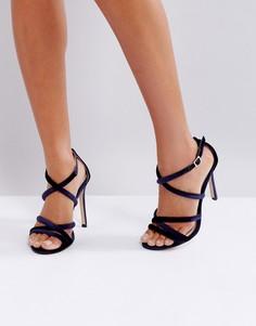 Бархатные туфли на каблуке с ремешками Lipsy - Темно-синий