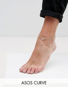 Цепочка на ногу ASOS CURVE - Золотой