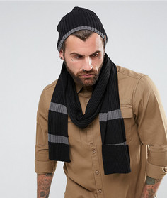 Подарочный набор с черно-серым шарфом и шапкой-бини в рубчик Timberland - Черный