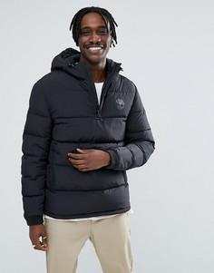 Черная дутая куртка с капюшоном и логотипом Timberland - Черный