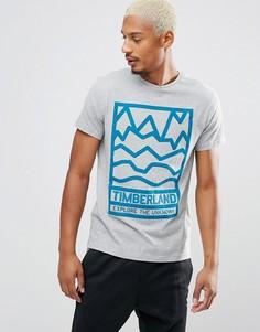 Серая меланжевая узкая футболка с принтом логотипа Timberland - Серый