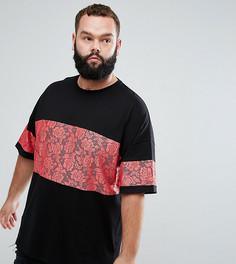 Длинная свободная футболка с кружевной вставкой ASOS PLUS - Черный