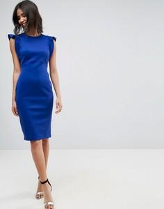 Платье-футляр миди с оборками ASOS - Синий