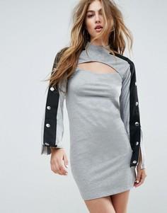 Платье мини с вырезом и кнопками на рукавах ASOS - Серый