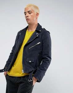 Замшевая байкерская куртка Selected Homme - Темно-синий