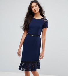 Платье с короткими рукавами и кружевной отделкой Paper Dolls Tall - Темно-синий